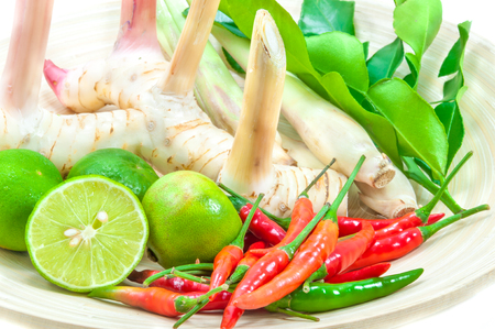 popular soup: Ingredients For Cooking Tom Yum Dish Chili Hot Spicy Soup Thai Popular Famous Food Stock Photo