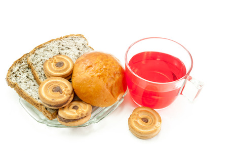 bread soda: red soda water with bread on whit background, Times to break. Stock Photo