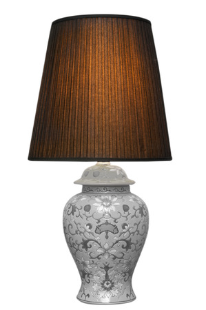 decore: Vintage table lamp on white background, interior design for house improvement Stock Photo