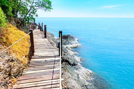Long wooden bridge pavilion in beautiful tropical island seaview - Koh Chang, Trat Thailand Stock Photo