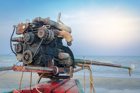 Typical huge diesel outboard engine on a Thai longtail boat Stock Photo