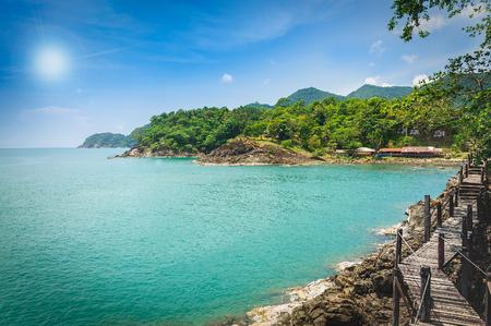 trat: Long wooden bridge pavilion in beautiful tropical island seaview - Koh Chang, Trat Thailand Stock Photo