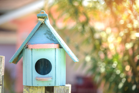 cute little birdhouses made from old wood Stock Photo