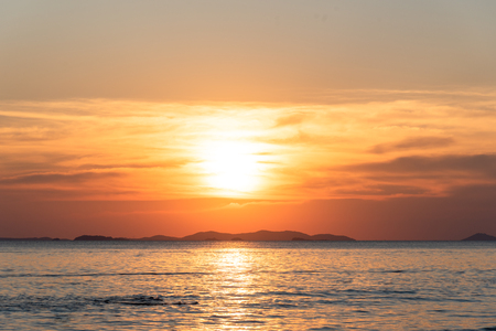 Golden hours , beautiful sunset above the sea