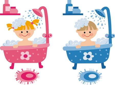douche: children in the bathroom Illustration