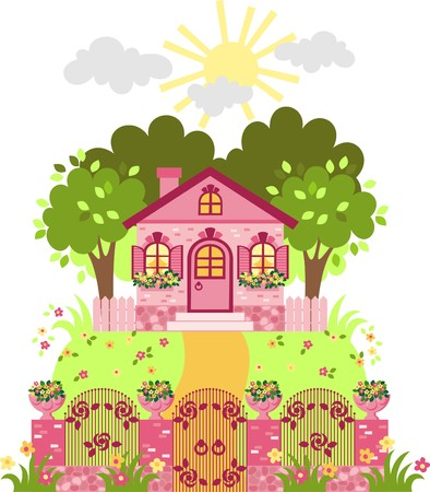 pink cottage Stock Vector - 8309233