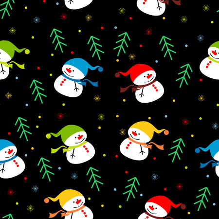 background with snowmen Vector