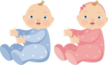twin sister: boy and girl in pink and blue costumes Illustration