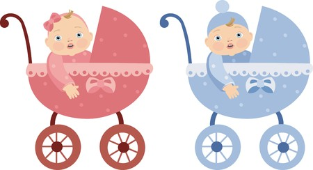 buggy: boy and girl Illustration