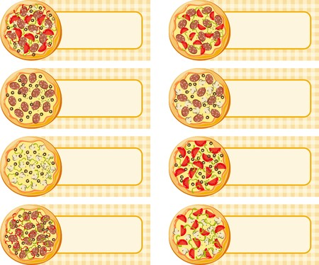 mozzarelle e formaggi: Tag pizza Vettoriali