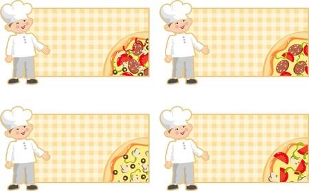 pizzeria label: etiqueta con pizza y cocinar