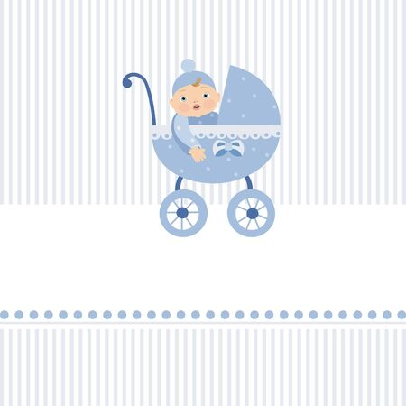 Stroller with boy Stock Vector - 8495881