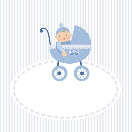 Stroller with boy Stock Vector - 8495876