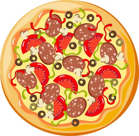 ham and cheese: pizza Illustration