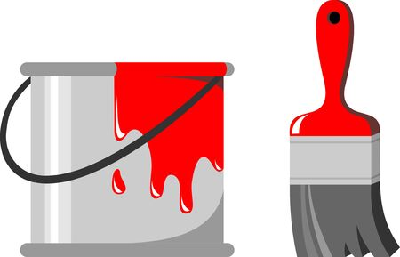 """""""paint can"""": brush and paint can Illustration"""