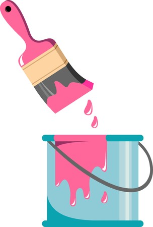 vibrant paintbrush: brush and paint can Illustration