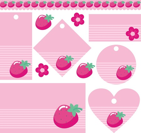 Tag with strawberries Vector