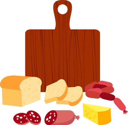 bread, sausage and cheese sandwich Stock Vector - 8798478