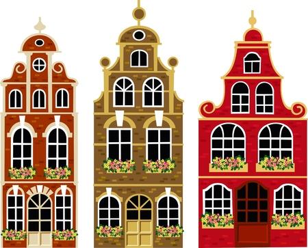 olanda: Vecchie case Vettoriali