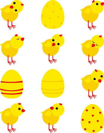 egg cartoon: stickers with chickens Illustration
