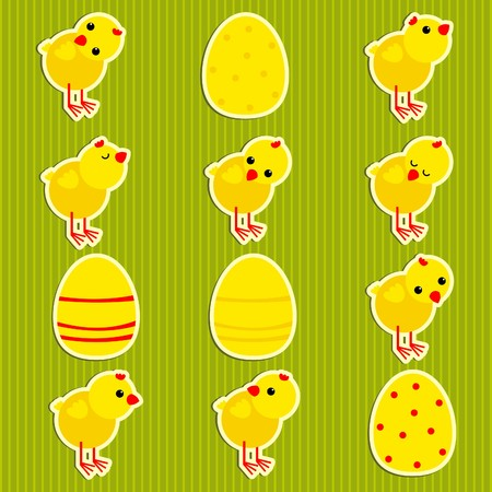 stickers with chickens Illustration