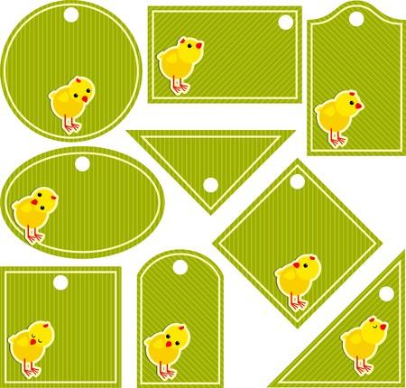 Etiqueta con pollos Ilustración de vector