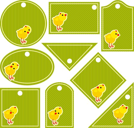 Tag with chickens Vector