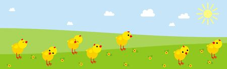 banner with chickens Vector