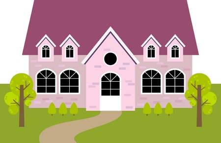 retirement home: pink house Illustration