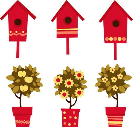 flower shop: flowers in pots and birdhouses