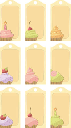 Tag with cakes Vector