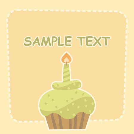 cake with a candle Vector