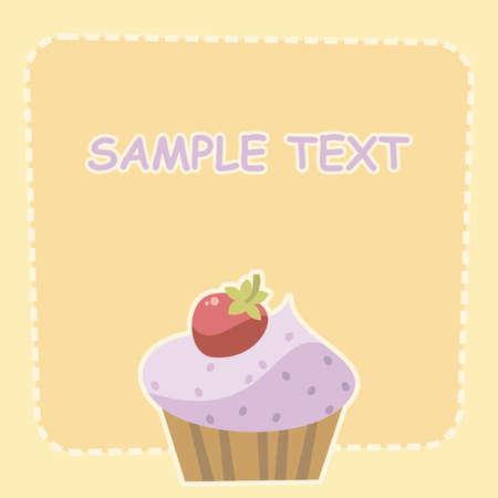 buttercream: cake with strawberries Illustration