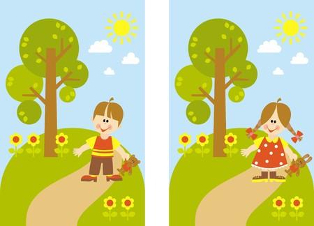 children for a walk Vector