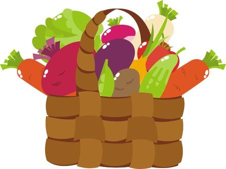 basket with vegetables Illustration
