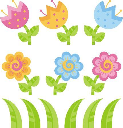 flowerbeds: Flowers Illustration