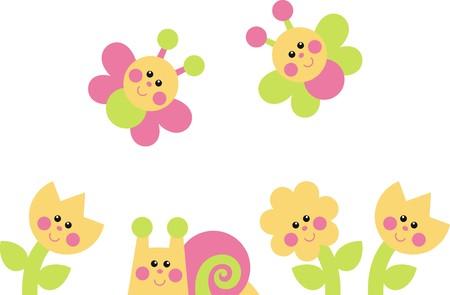 clam gardens: flowers, snail, butterflies Illustration