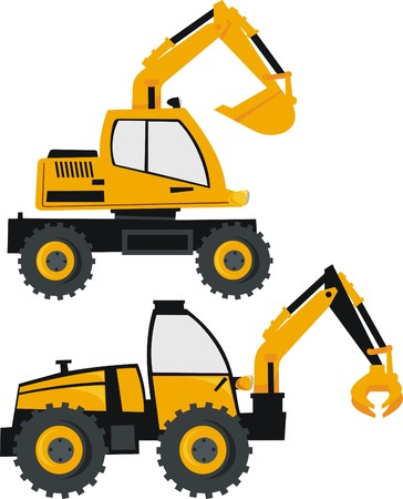 agricultural equipment: excavator and loader Illustration
