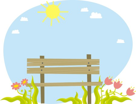 wooden furniture: Bench Illustration