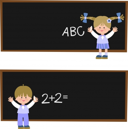 grade schooler: children in school Illustration