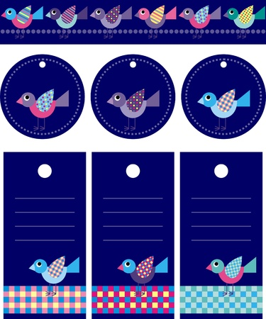 border and tags for scrapbook Vector