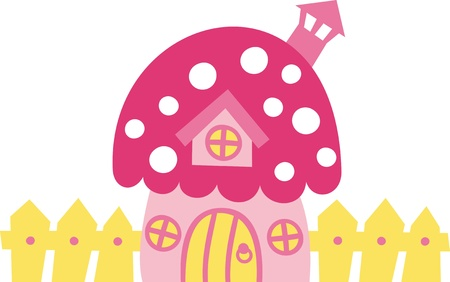 The little fairy house in the form of mushrooms Vector