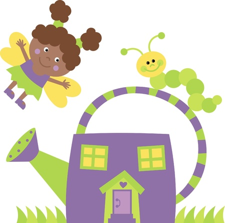house fly: The little fairy house from watering can Illustration
