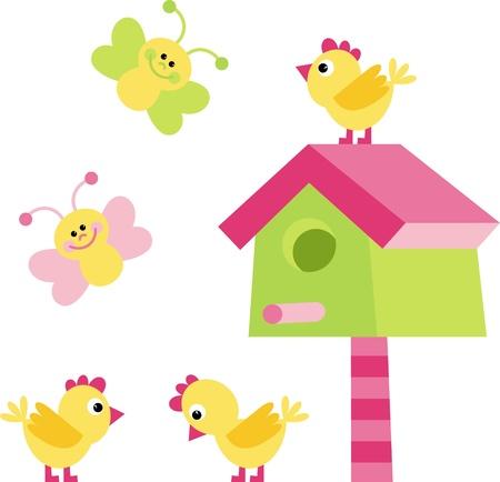 mosca caricatura: pollo, mariposa y birdhouse