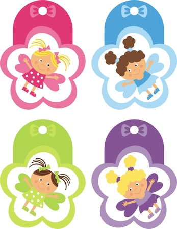 violet icon: tag with the fairies Illustration