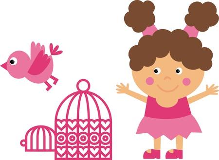 girl and bird Vector