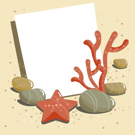 Starfish, pebbles, and place for text Vector