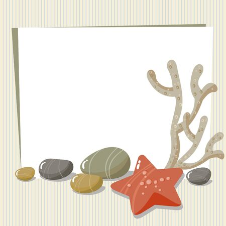 oblázky: Starfish, pebbles, and place for text Ilustrace