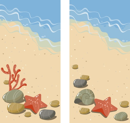 Banners with sea pebbles, seashells, sea star, and coral Vector