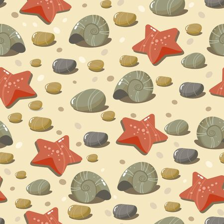 background with sea pebbles, shells and starfish Vector